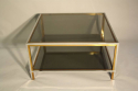 A square silver and brass smoked glass two ti - picture 2