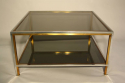 A square silver and brass smoked glass two ti - picture 3