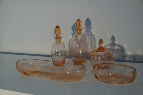 Pale red/coral French glass toilette set, c1940