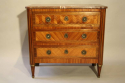 19thC French antique inlaid parquetry commode with marble top. - picture 1