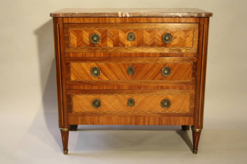 19thC French antique inlaid parquetry commode with marble top.