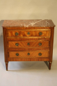 19thC French antique inlaid parquetry commode with marble top. - picture 3