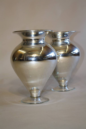 A pair of silver mirror glass vases, C20th