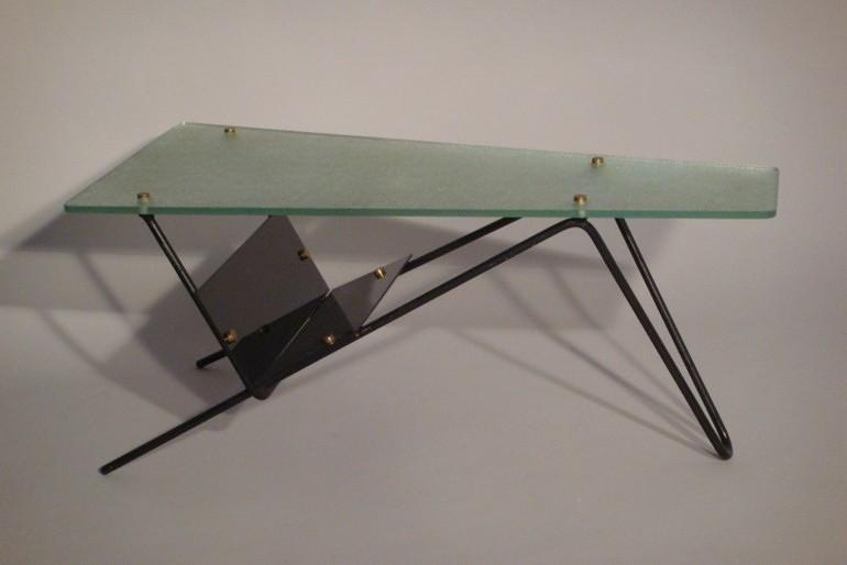 A Vintage 1950s table glass and metal table, French