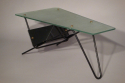 A Vintage 1950s table glass and metal table, French - picture 2
