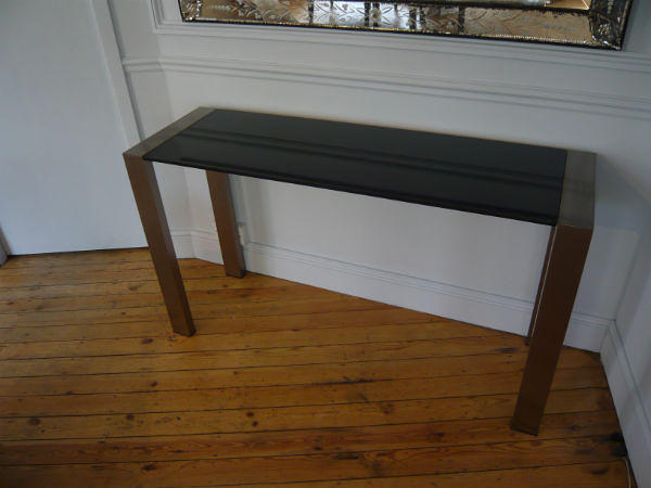 Brush aluminium & granite console. French c1970