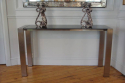 Brush aluminium & granite console. French c1970 - picture 2