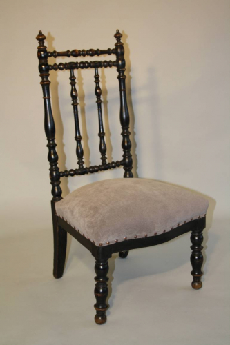 Antique French ebonised turned wood side chai