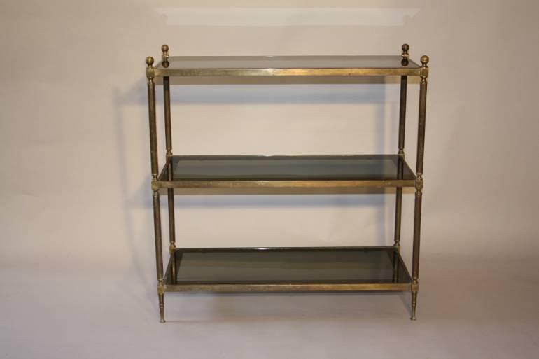 A good size three tier worn gilt metal etagere, French 1970