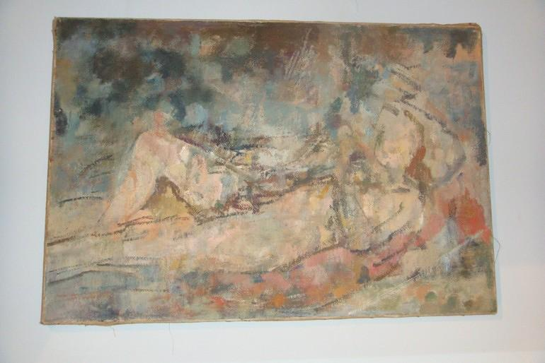 Oil on canvas, Circle of William Brooker, Reclining Nude, c1950