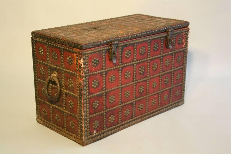Antique Spanish studded red leather coffre, c1900