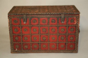 Antique Spanish studded red leather coffre, c1900 - picture 3