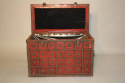 Antique Spanish studded red leather coffre, c1900 - picture 4