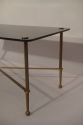 Rectangular black vitrolite glass and gold metal occasional table, French c1950 - picture 1