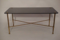 Rectangular black vitrolite glass and gold metal occasional table, French c1950 - picture 2