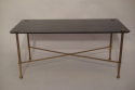 Rectangular black vitrolite glass and gold metal occasional table, French c1950 - picture 3