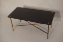 Rectangular black vitrolite glass and gold metal occasional table, French c1950 - picture 4