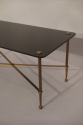 Rectangular black vitrolite glass and gold metal occasional table, French c1950 - picture 5