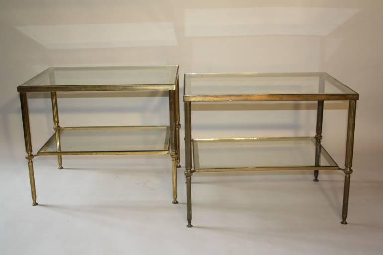 A pair of brass and glass side tables, English c1950