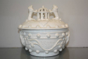 A 19thC white glazed ceramic pot with lid - picture 1