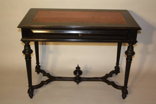 Napoleon III Ebonised Black Desk, French c1880