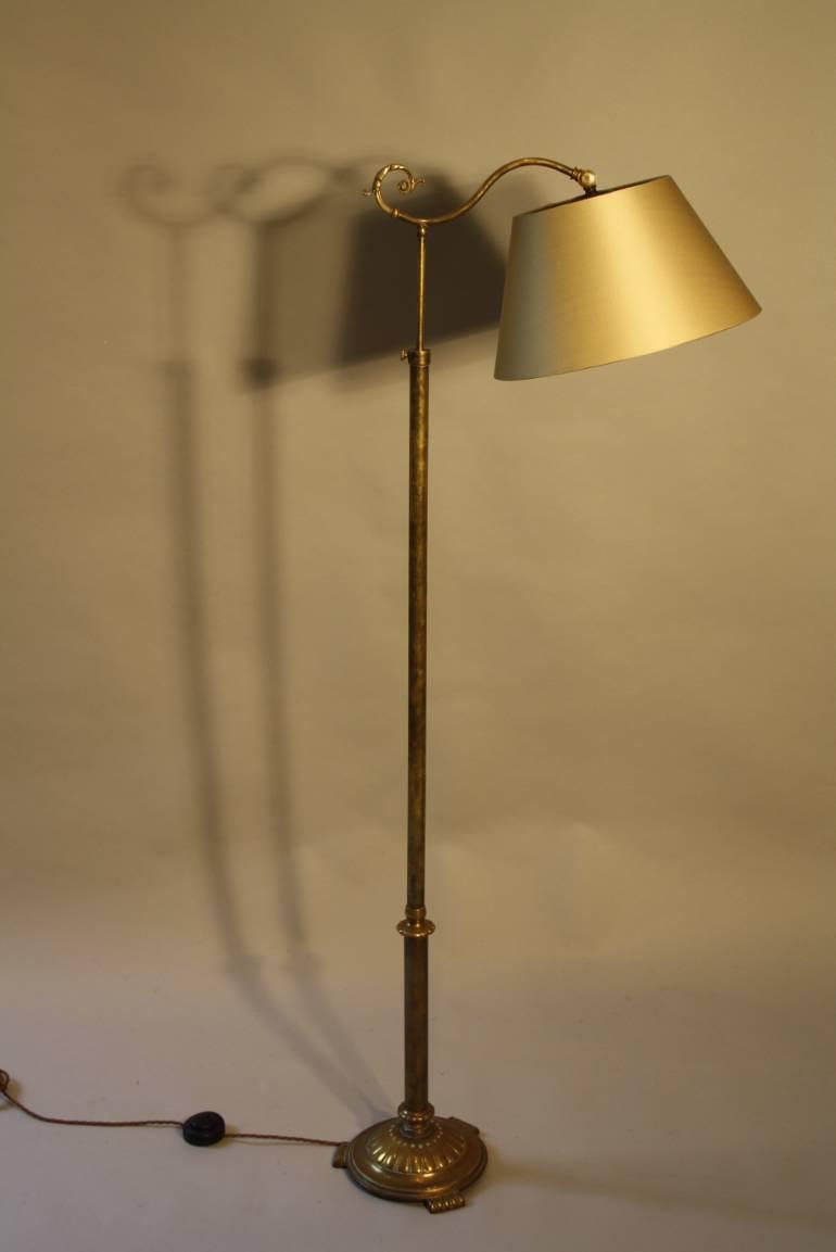 Victorian brass telescopic, adjustable floor lamp