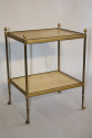 French 1950`s two tier brass and parchment side table - picture 1