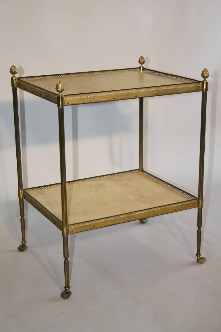 French 1950`s two tier brass and parchment side table