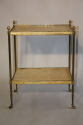 French 1950`s two tier brass and parchment side table - picture 2