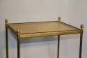 French 1950`s two tier brass and parchment side table - picture 4