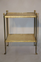 French 1950`s two tier brass and parchment side table - picture 5