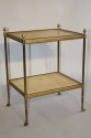 French 1950`s two tier brass and parchment side table - picture 6