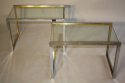 A pair of silver and gold metal end/side tables, French c1970 - picture 1