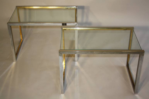 A pair of silver and gold metal end/side tables, French c1970