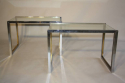 A pair of silver and gold metal end/side tables, French c1970 - picture 3