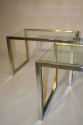A pair of silver and gold metal end/side tables, French c1970 - picture 4