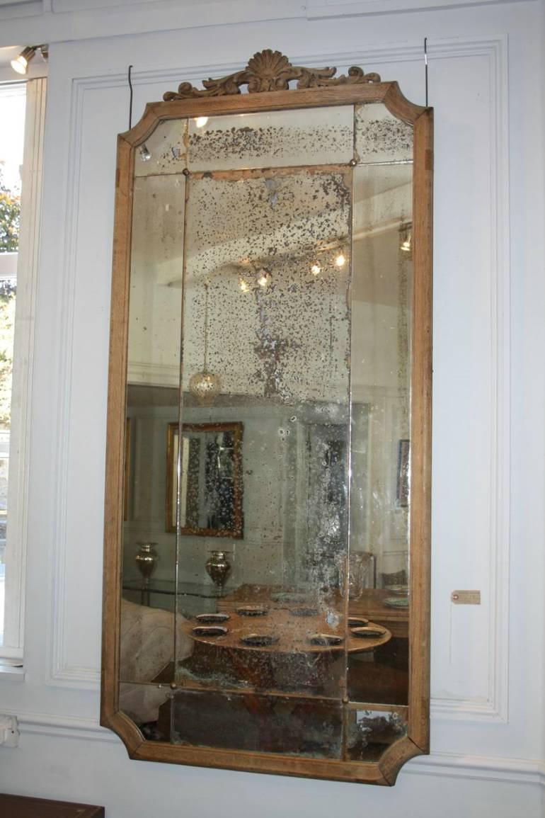Large Oak Framed Sectional Overmantle Mirror