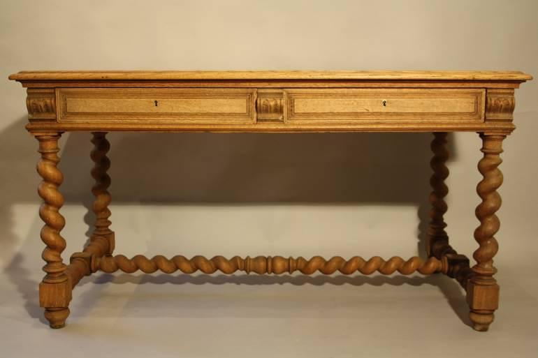 French antique oak twisted leg bureau, c1920