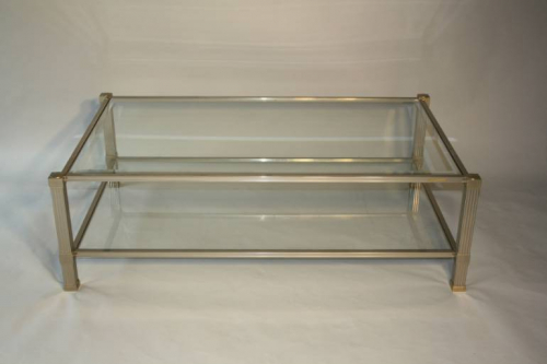 Silver metal two tier coffee table by Pierre Vandel