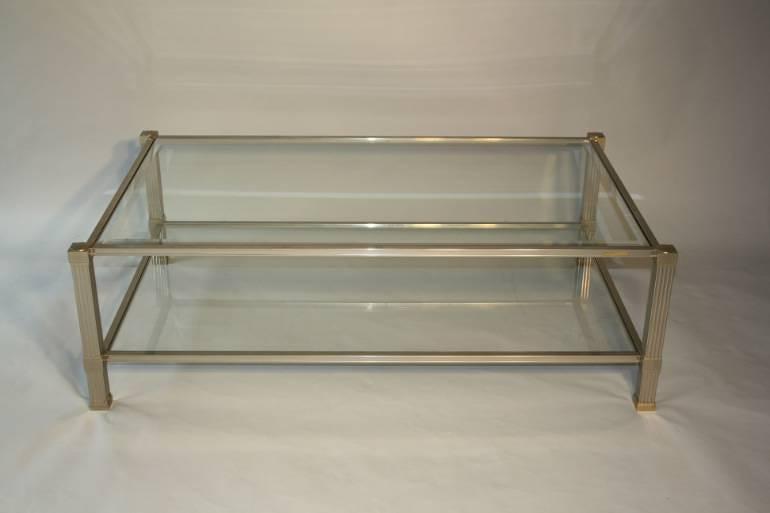 Silver metal two tier coffee table by Pierre Vandel