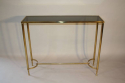 French c1970 brass and glass narrow console - picture 1
