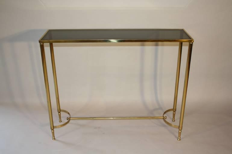 French c1970 brass and glass narrow console