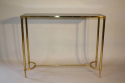 French c1970 brass and glass narrow console - picture 2
