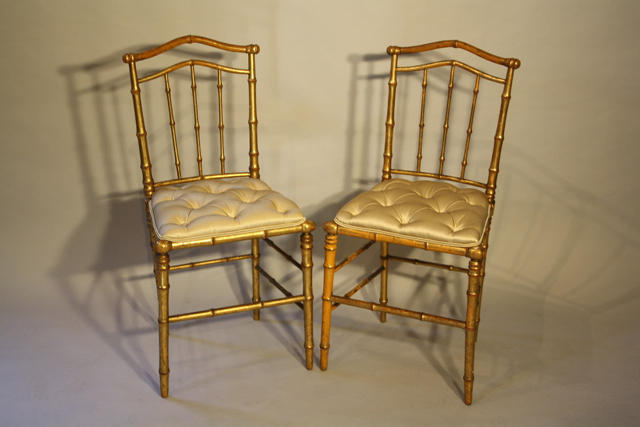 Giltwood bamboo side chairs