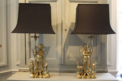 A pair of bronze Buddha table lamps. c1970