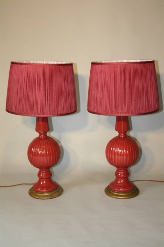 Cerise pink glazed ceramic table lamps