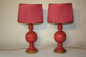 Cerise pink glazed ceramic table lamps - picture 2