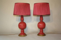 Cerise pink glazed ceramic table lamps - picture 4