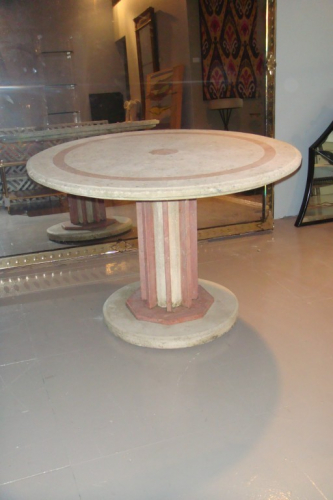 An Art Deco coral stone and red marble outside table. French