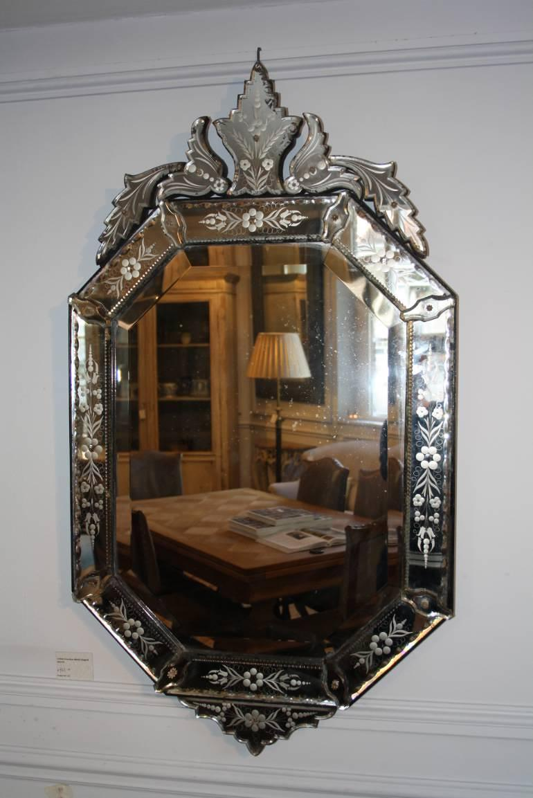 Antique Venetian shield shaped mirror, C1900